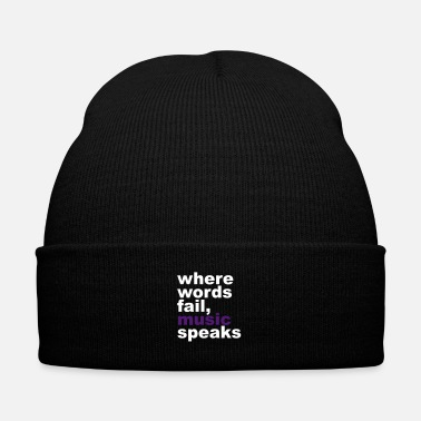 Word Where Words Fail, Music, Speaks - Knit Cap with Cuff Print
