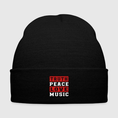 Truth Peace Love Music - Knit Cap with Cuff Print