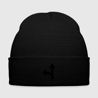 Road signs series - go straight or left - Knit Cap with Cuff Print