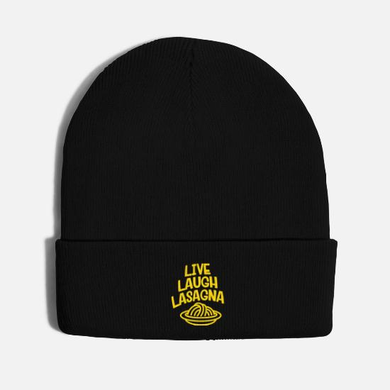 Puglia Caps - Live Laugh Lasagna - Knit Cap black