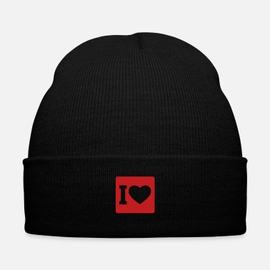 I Love I love - Knit Cap with Cuff Print
