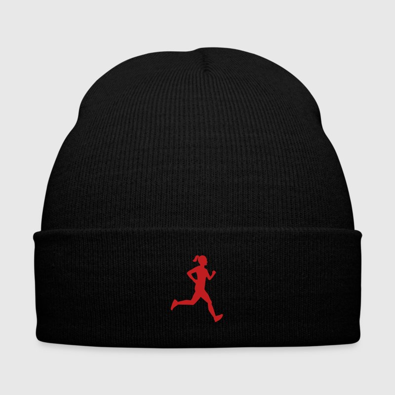 Girl Runner Silhouette - Knit Cap with Cuff Print