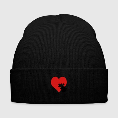 lovesickness / red heart - Knit Cap with Cuff Print