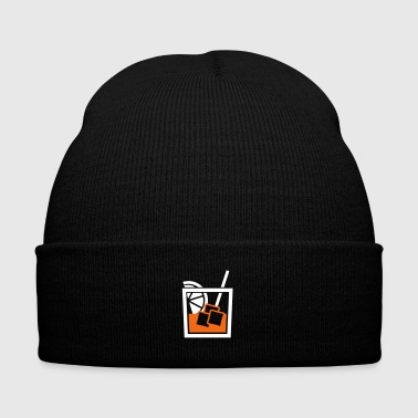 whiskey glass - Knit Cap with Cuff Print
