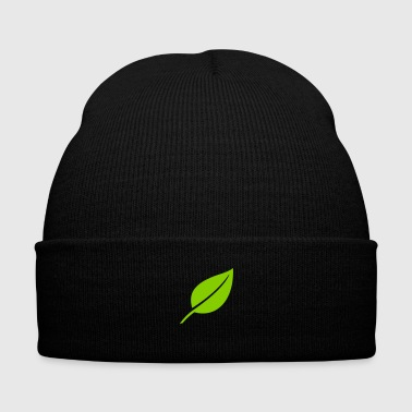 Leaf - Knit Cap with Cuff Print