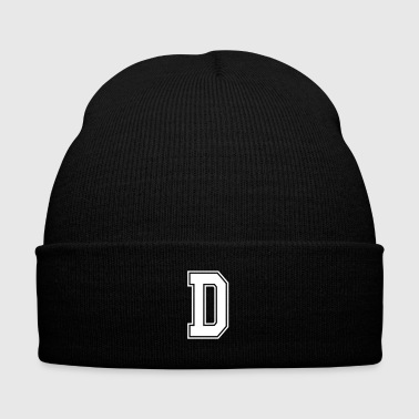 Letter D - Knit Cap with Cuff Print