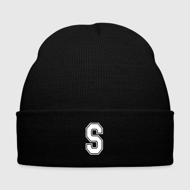 Letter S - Knit Cap with Cuff Print