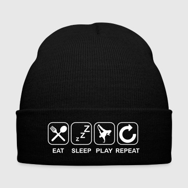 Hip Eat Sleep Hip Hop Repeat - Knit Cap with Cuff Print