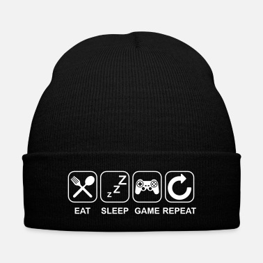 Game Eat Sleep Game Repeat - Knit Cap with Cuff Print