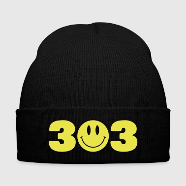 3 Smiley 3 - Knit Cap with Cuff Print