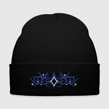 Tribal Tattoo ornament with stars. - Knit Cap with Cuff Print