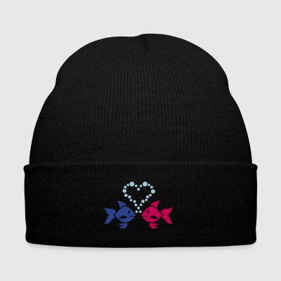 Fish in love - Knit Cap with Cuff Print