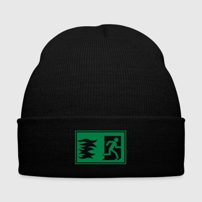 emergency exit / fire alarm sign - Knit Cap with Cuff Print