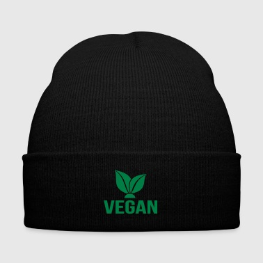 vegan - Knit Cap with Cuff Print