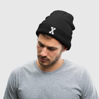 Letter X - Knit Cap with Cuff Print