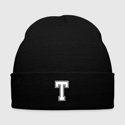 Letter T - Knit Cap with Cuff Print
