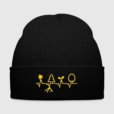 Nature - Heartbeat - Knit Cap with Cuff Print