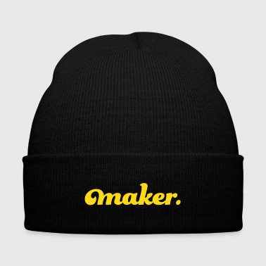 maker text - Knit Cap with Cuff Print