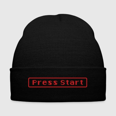 press start - Knit Cap with Cuff Print
