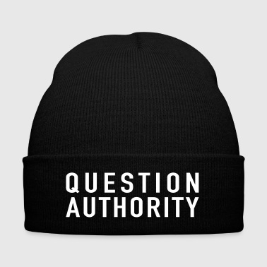 Question Authority Women's Premium T-Shirt - Knit Cap with Cuff Print