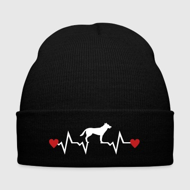 Heartbeat & Dog, German Shepherd - Knit Cap with Cuff Print