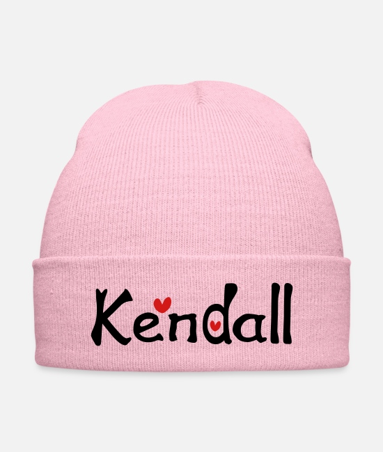 Graphic Art Caps & Hats - Name Kendall txt hearts vector graphic line art - Knit Cap pink