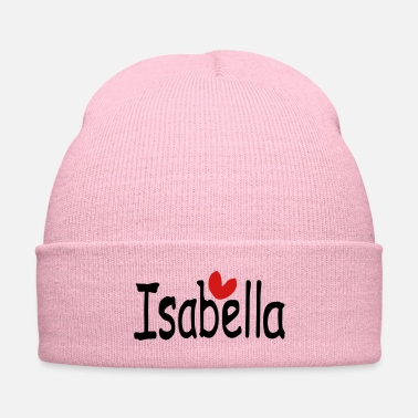 Name Isabella txt hearts vector graphic line art - Knit Cap