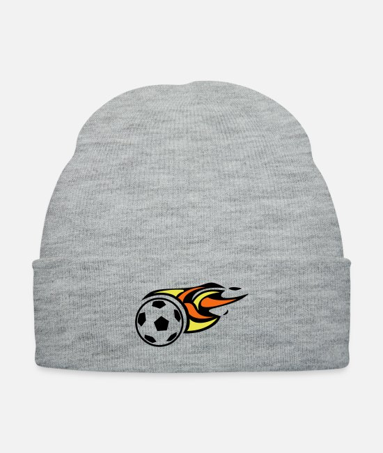 Competition Caps & Hats - Soccer Ball On fire traveling - Knit Cap heather gray
