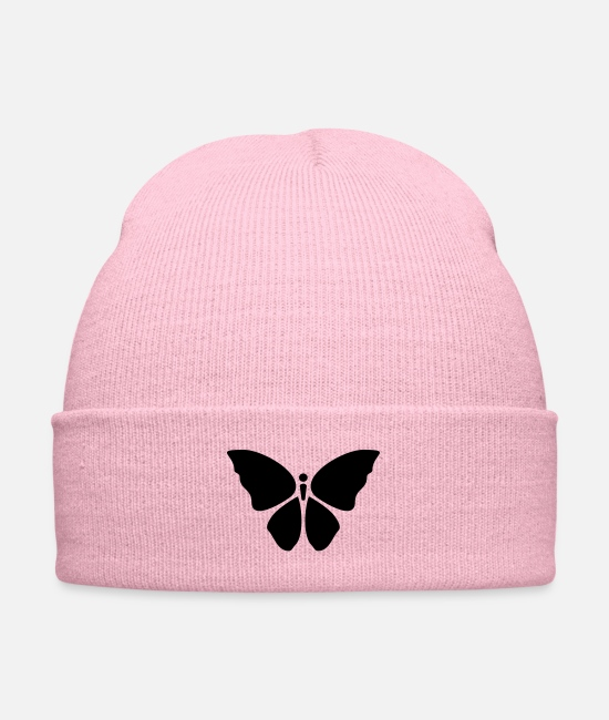 Nature Caps & Hats - Butterfly Simple Icon Symbol - Knit Cap pink