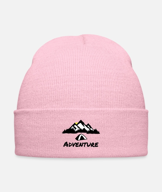 Mountains Caps & Hats - Camping Nature Adventure, Mountains & Forest - Knit Cap pink