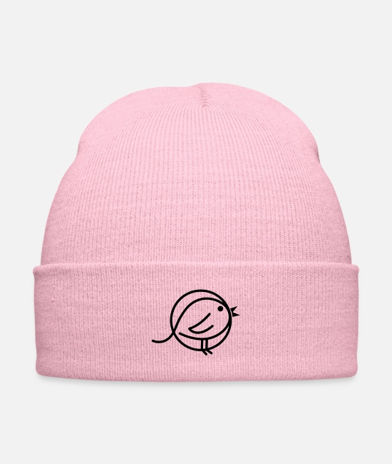 Graphic Art Caps & Hats - simple black bird - Knit Cap pink