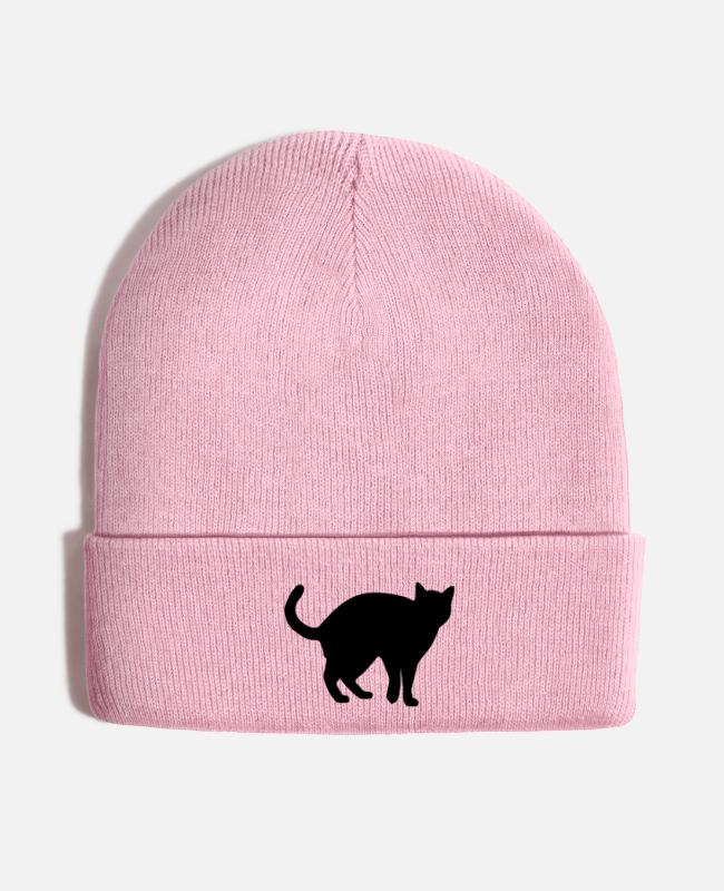 Cats Caps & Hats - Black Cat - Knit Cap pink