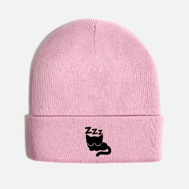 Cheerful Madness Cute Asleep Cartoon Cat by Cheerful Madness!! - Knit Cap