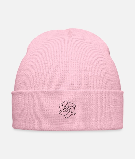 Geometry Caps & Hats - Optical illusion - Chakra symbol - Geometry Art - Knit Cap pink