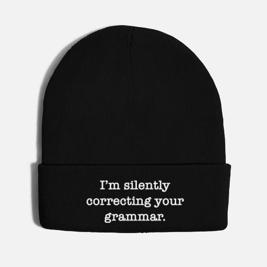 Am Caps - i am silently correcting your grammar - Knit Cap black