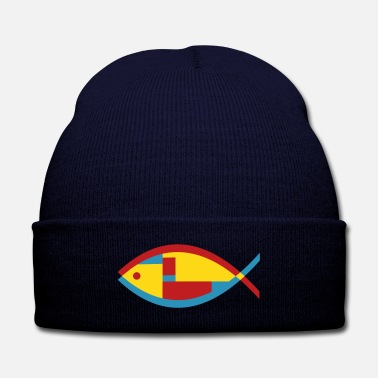 Marine Colorful Abstract Fish - Knit Cap