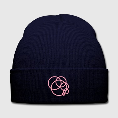 PINK circle - Knit Cap with Cuff Print
