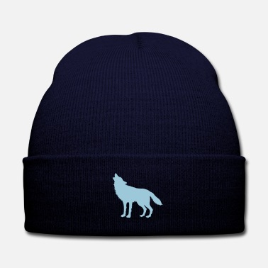 Macho Howling Wolf (Silhouette) - Knit Cap with Cuff Print