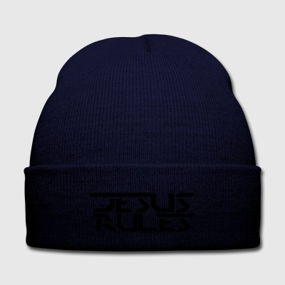 Jesus Rules - Knit Cap with Cuff Print