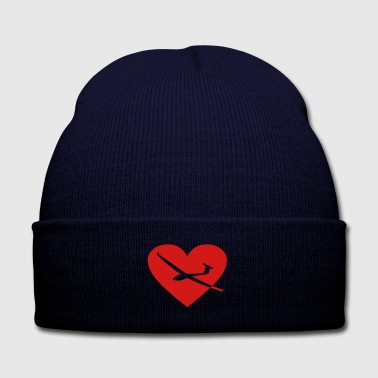 heart glider plane - Knit Cap with Cuff Print