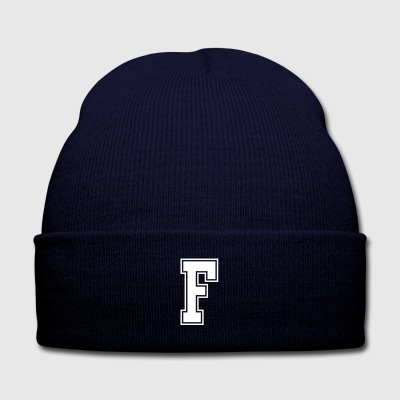 Letter F - Knit Cap with Cuff Print