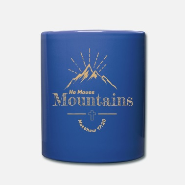 Mustard Retro Style He Moves Mountains Matthew 17:20 - Full Color Mug