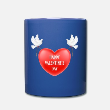 heart with pigeons - Full Color Mug