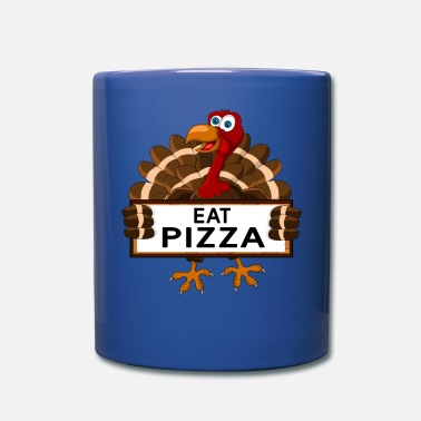 Funny Toddler Eat Pizza Turkey Thanksgiving Gift - Full Color Mug