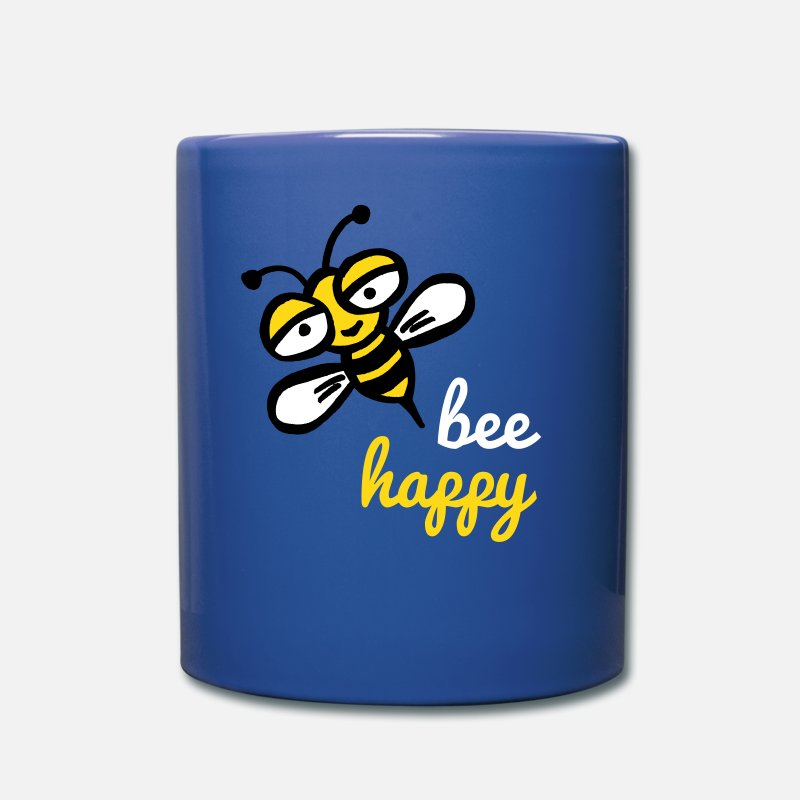 Ape Mugs & Drinkware - Happy bee - Full Color Mug royal blue