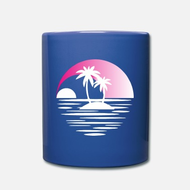 Super Island with palms white pink - Full Color Mug