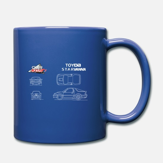 Sportscar Mugs & Drinkware - Toyda Starvanna: Starlet EP82 and RX7 mashup - Full Color Mug royal blue