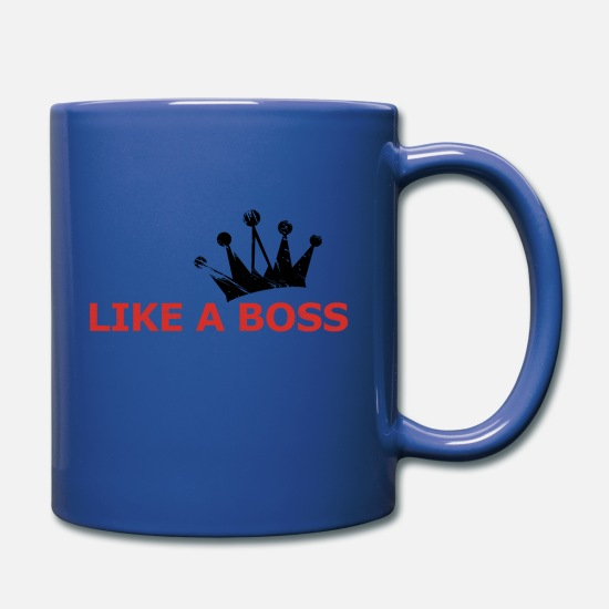Like A Boss Mugs & Drinkware - LIKE A BOSS RED crown - Full Color Mug royal blue