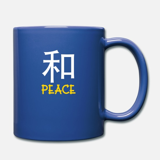 Characters Mugs & Drinkware - Chinese Words: Peace - Full Color Mug royal blue