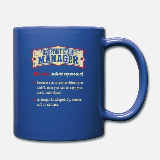 Assistant Mugs & Drinkware - Assistant Stage Manager Dictionary Term Sarcastic - Full Color Mug royal blue